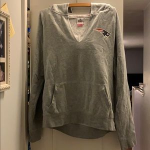 Gray NE Patriots hoodie from pink.  Size large